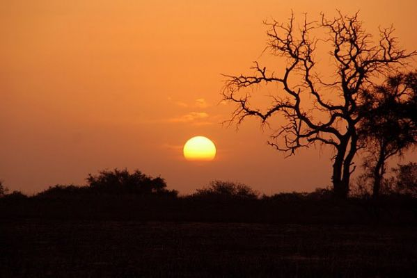 Coucher de soleil au Nord Cameroun. Image de Franc