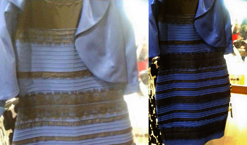 Cette robe est bleue ou blanche